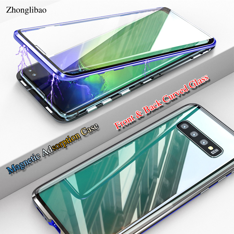 cheap for discount 3a95d 7c024 360 Full Body Front Back Curved Glass Magnetic Adsorption Metal Case for  Samsung Galaxy S10 S9 s8 Plus Note 9 8 Luxury Cover