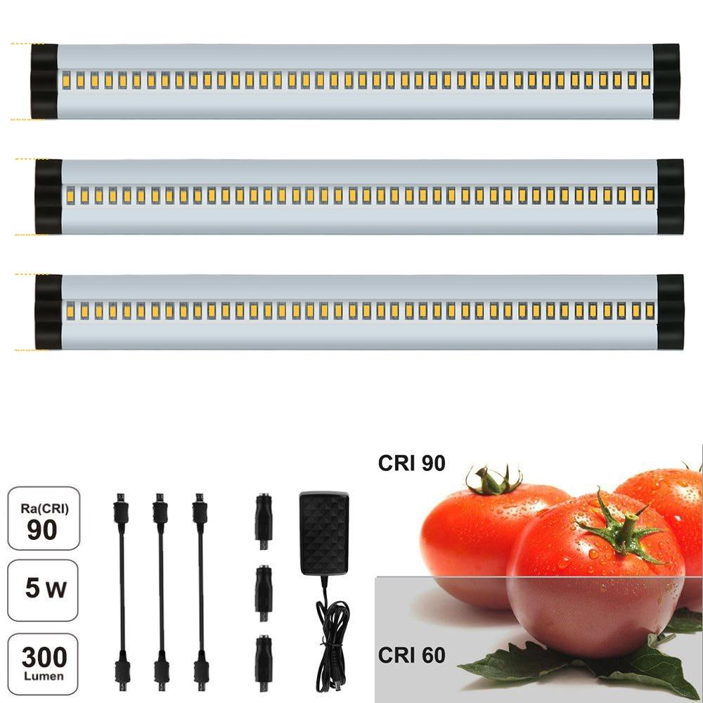 Silver LED under skåpbelysning, CRI90 dimbar SMD2835, 3-pack 12V, totalt 15W (30W utbyte) 900LM LED nattlampa