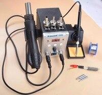750W 8586 2 In 1 digitalHot Air Gun Soldering Station Welding Solder Iron For IC SMD Rework station 220v + HEATER + SOLDER WIRE