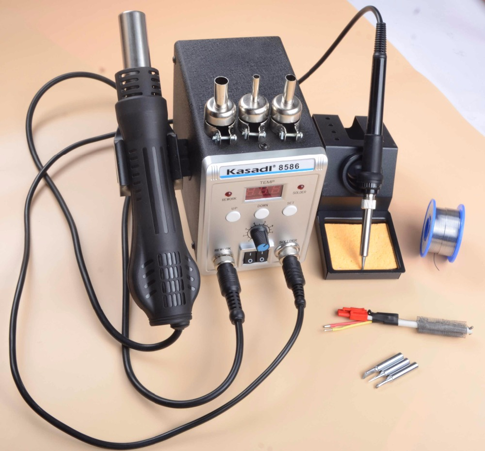 Digital Soldering Station 750W 8586 2 In 1 Hot Air Gun Welding Solder Iron Rework station 220v +Heater+Solder Wire Free Shipping