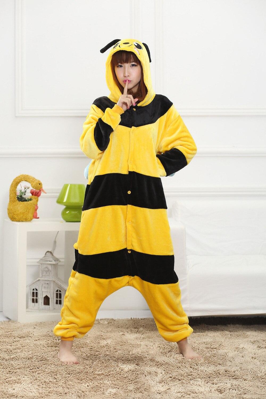 Unisex Adult Pajamas Cosplay Costume Animal one piece sleepwear Suit Bumblebee