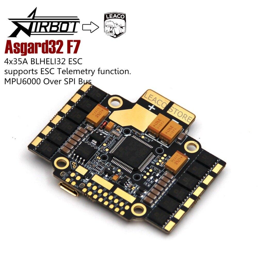 Asgard32 F7 Upgraded filght controller incl 4x35A BLHELI32 ESC supports ESC Telemetry function for FPV Racing drone quadcopter asgard32 f7 betaflight flight controller stm32 f7 mcu mpu6000 stm32 controls osd baro bmp280 35a blheli32 esc onboard 6 uarts