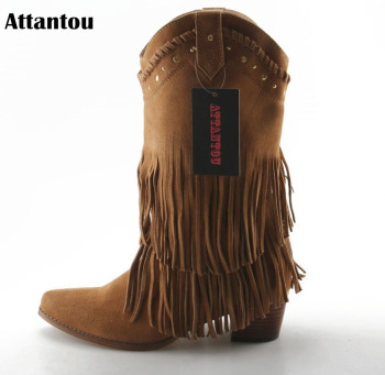 Attantou Fashion Women Boots 2018 Chunky High Heeled Mid-calf Boots Shoes Tassel Women Shoes Autumn Winter Snow Botas Femininos