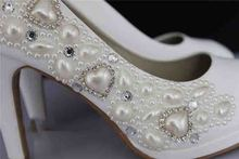 Gorgeous Crystal Diamond Lady's Wedding Shoe pearls Beaded High-heeled Bridesmaid Bridal Shoes Party Ball Prom Pageant Event