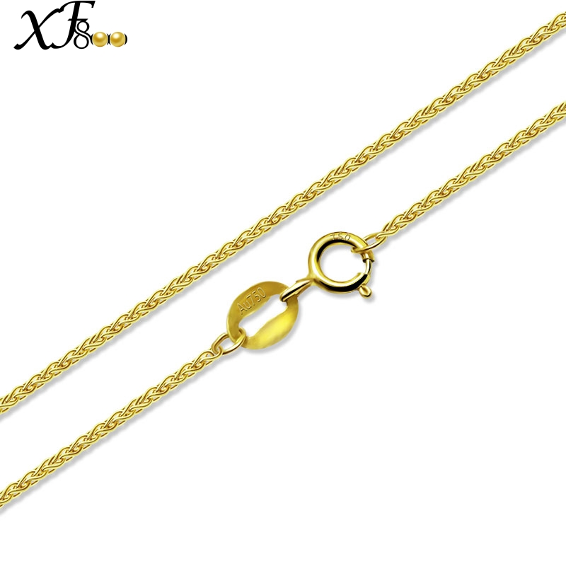 XF800 Fine Jewelry Genuine 18K Yellow Gold Necklace Pendant au750 40cm 45cm 80cm Wedding Party Gift For Women Chopin XFX312 genuine 18k white yellow gold chain 40cm 45cm 1mm thickness au750 cost price necklace wedding party gift for women