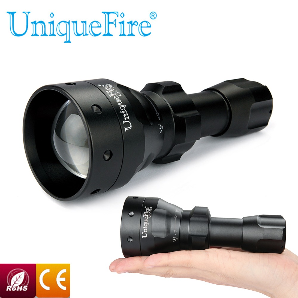 UniqueFire Hot Sale New 1503 T50 Zoomable LED Flashlight Torch 50mm Convex Lens 850nm IR LED Light Rechargeable Waterproof uniquefire black flashlight uf 1503 ir 940nm led light 50mm convex lens aluminum torch zoom 3 modes rechargeable battery lamp