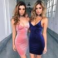 2017 Мода Без Рукавов Холтер бальные платья плюс размер женщин одежда Сексуальная бинты Утечка назад Club dress Slim V-образным Вырезом женщины dress