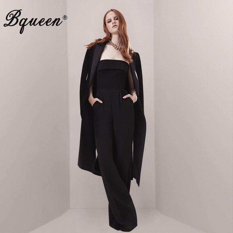 Bqueen 2019 новый для женщин из двух частей наборы для ухода за кожей черный комбинезон с пиджак офисные женские туфли