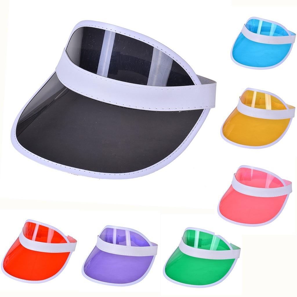 90e878db9868f4 Summer Women Men Sun Hat Candy Color Transparent Empty Top Plastic PVC  Sunscreen Hat Visor Caps