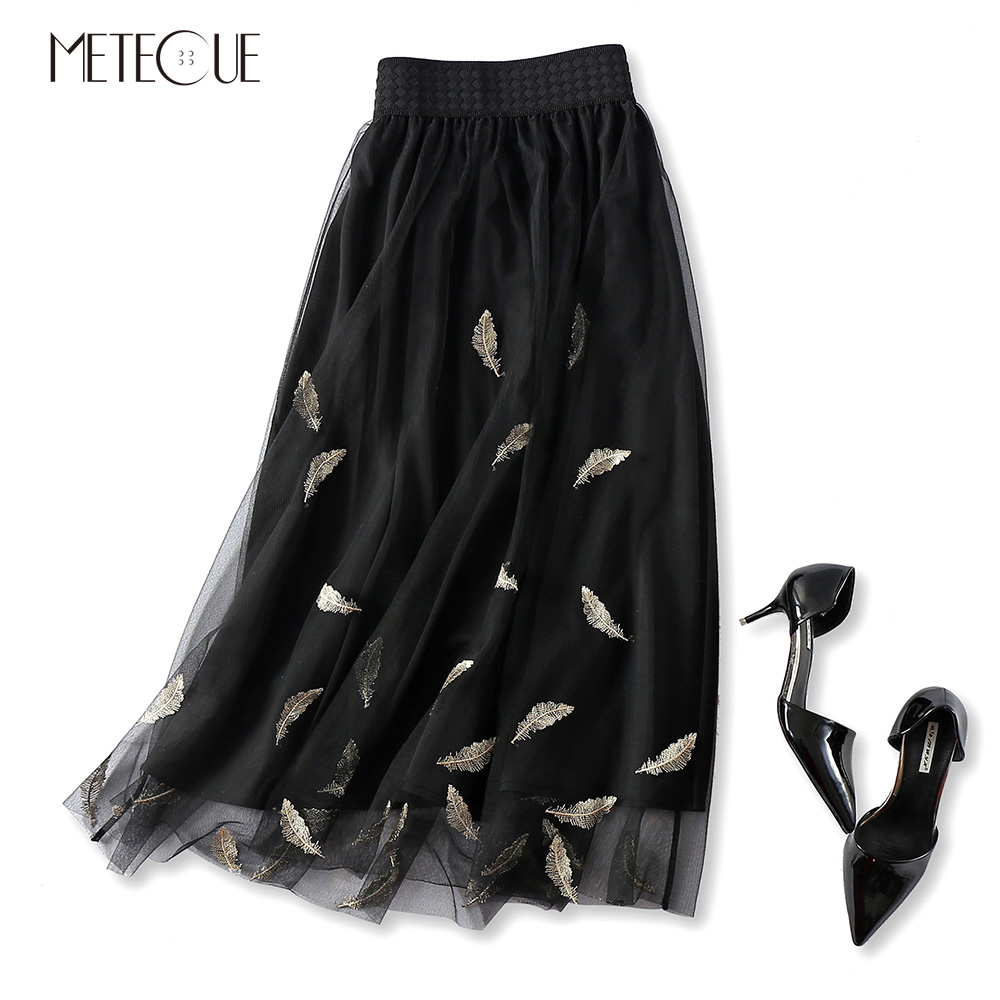 Casual Gold Feather Embroidery Double Mesh Stitching Tulle Skirt Women Elastic High Waist A Line Midi Skirt Spring Summer 2018 black mesh fluffy midi skater skirt