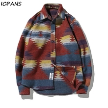 ICPANS Plus Size 5XL Woolen Flannel Shirt Mens Vintage Floral Long Sleeve Casual Shirts 2019 Autumn Winter Streetwear Clothing