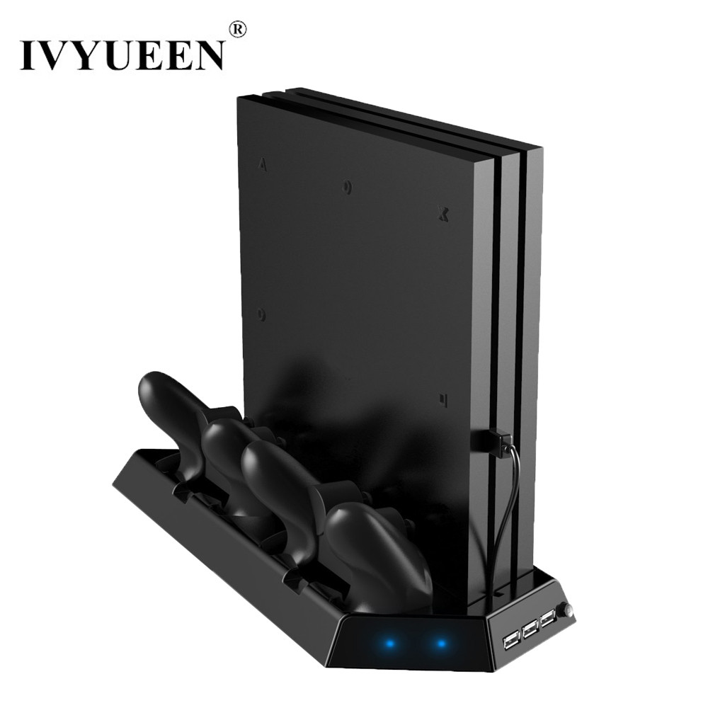 IVYUEEN Vertical Stand for Sony PlayStation 4 PS4 Pro Console with Cooling Fan Controller Charge Station and Charging Indicator mutilfunction ps4 cooler playstation 4 cooling fan vertical stand for ps4 playstation 4 console cooler with charging station page href