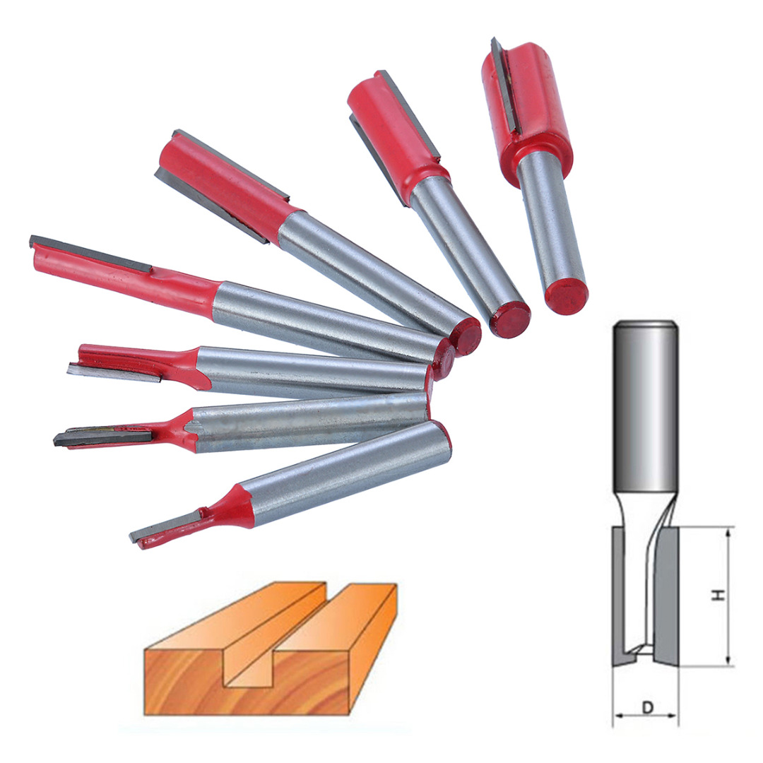 7Pcs Wood Milling Cutter 1/4 Shank Double Flute Straight Router Bit Set for Woodworking Milling Cutter Tool 1 2 5 8 round nose bit for wood slotting milling cutters woodworking router bits