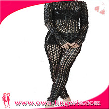 Free shipping sexy cheap leather catsuit for women full holes zipper back to crotch clubwear dancing