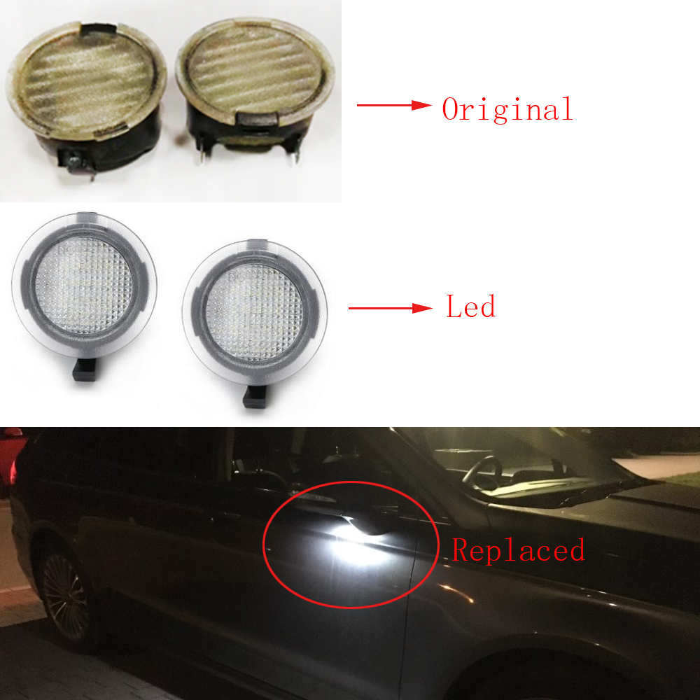 Easy Eagle Full LED Side Under-Mirror Puddle Light Assembly Replacement For Ford F-150 Expedition Explorer Edge Flex Fusion Taurus X with 6000K Xenon White 2 Pack