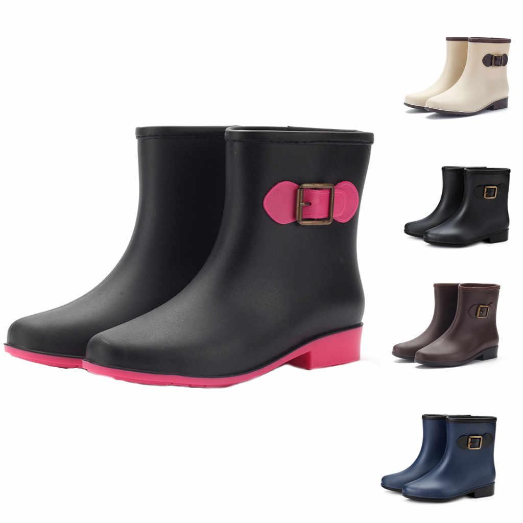 Moda kadın rahat yağmur çizmeleri düşük topuklu toka düz topuk yuvarlak ayak ayakkabı kadın su geçirmez orta tüp yağmur çizmeleri kar botları