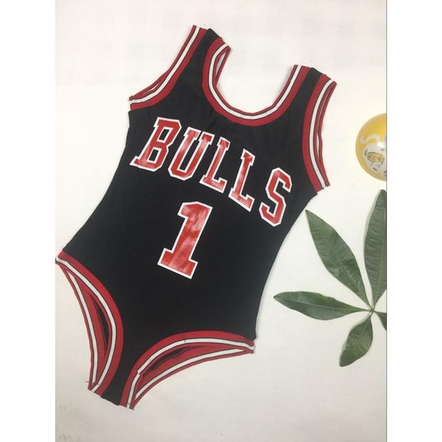e9ac12c62ae 2018 New Monokini Swimwear Women Bulls Bodysuit One Piece Letter Swimsuit  Bikini Basketball Red Sports Jumpsuits Sexy Costume-in Body Suits from  Sports ...