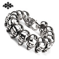 Weight Rock and roll Skull vintage punk  skeleton bracelet for men stainless steel one direction fashion jewelry