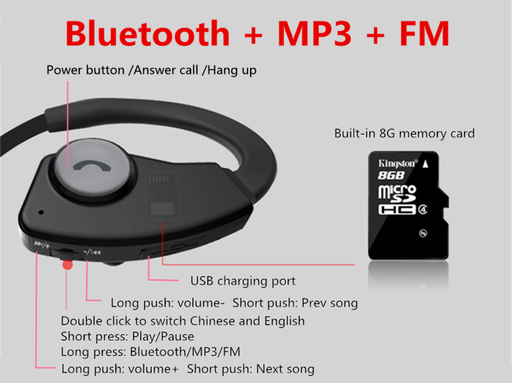 US $29 99  Sports Bluetooth headphones Suicen L5 MP3 Player FM Radio  Wireless Headset Voice Prompt In Ear Earphones Built in 8G Memory Card-in