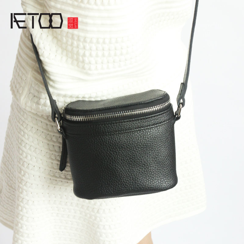 AETOO Original new leather mini kegs package Europe and the United States simple wind litchi pattern cowhide Messenger camera ba the skm500ga124dh6 package on the original disassemble