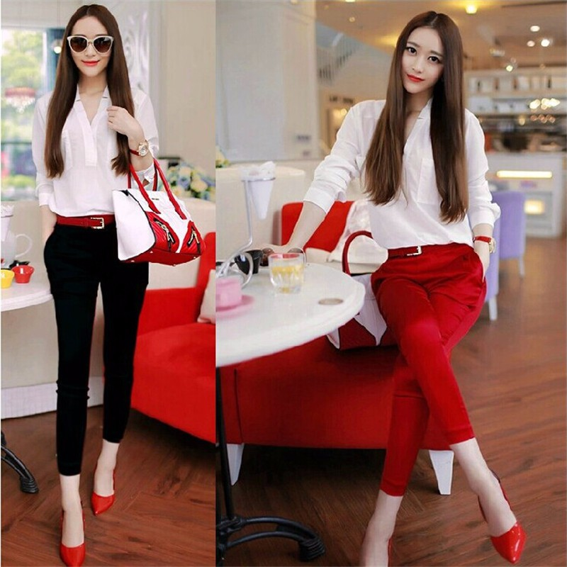New Summer Fashion OL Twinset Solid White Tops Red Butt-lifting Ankle-length Red Capris Suit V-neck Pencil Pants Slim Women's S