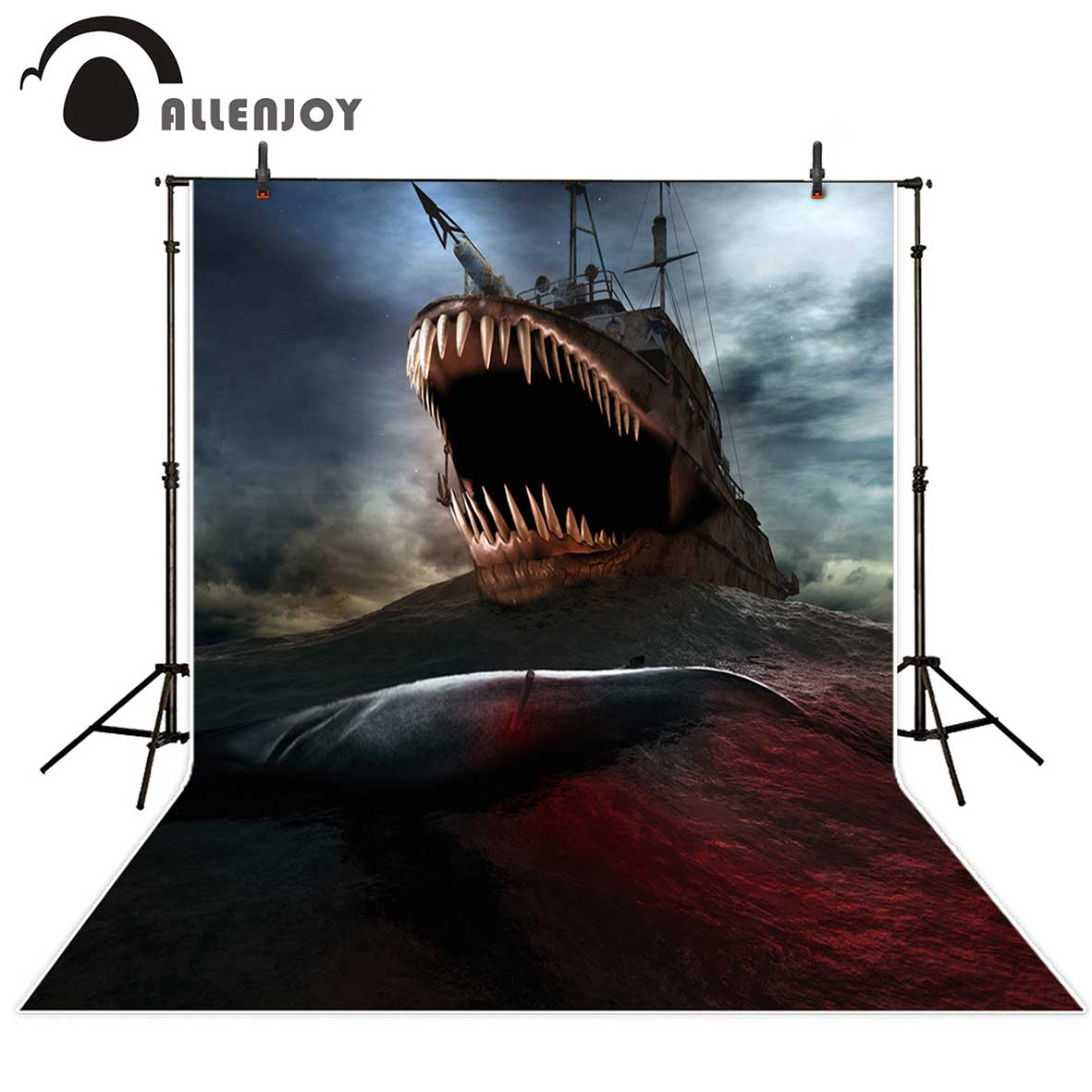 Allenjoy photography backdrops Strange giant fish boat scary background party decoration sea Background for photo studio 10pcs free shipping cs1 g red led pneumatic cylinder magnetic sensor reed switch dc ac 5v 240v