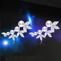 TANGTANG Hot Sale Dazzling Charm Drop Earrings New Fashion Wild Rhinestones Imitation Pearl Earrings For Women