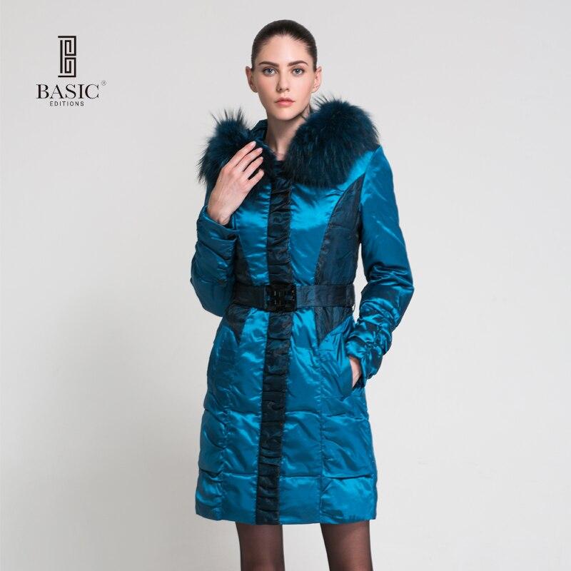 BASIC-EDITIONS Теплая зима Куртка Женщины моды Марка Дизайн Белая утка вниз Куртка Синий длинное пальто куртки 11w47