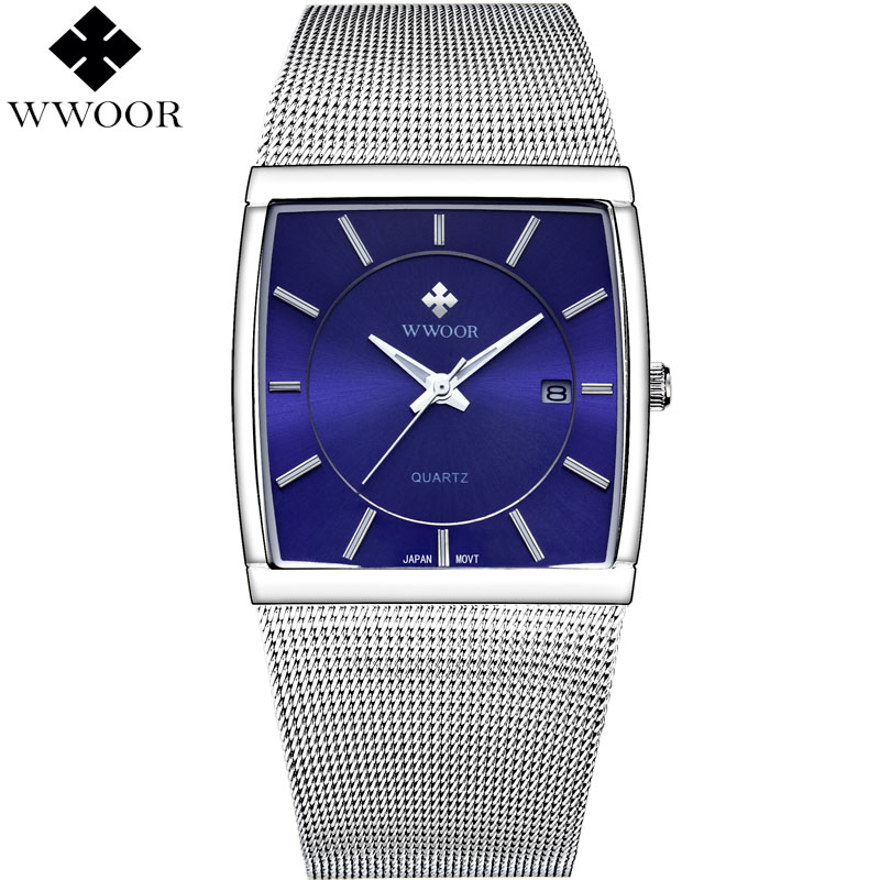 все цены на WWOOR Brand Luxury Men Square Quartz Watch Men Business Date Clock Male Silver Stainless Steel Sports Watches relogio masculino