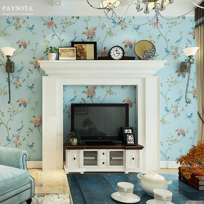PAYSOTA Pastoral Painting Flowers Birds Non-woven Wallpaper Bedroom Living Room Sofa TV Wall Paper Roll beibehang wall paper pune girl room cartoon children s room bedroom shop for environmental non woven wallpaper ocean mermaid