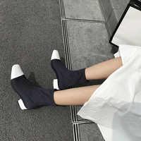 Эмма KING Горячая зима стрейч ткань носок сапоги Для женщин пикантные квадратный носок ботильоны Обувь на среднем каблуке Повседневные Плать...