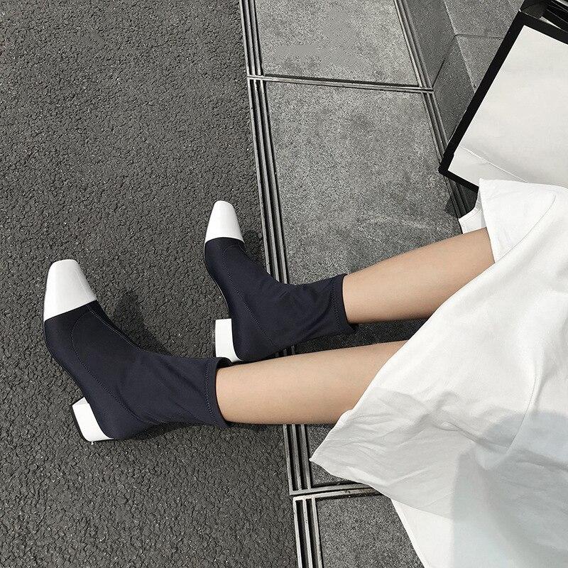Botas de calcetín de tela elástica de Invierno para mujer, botas de tobillo cuadradas sexis con punta cuadrada, vestido informal de tacón de mujer, vestido informal con tacón botas de mujer