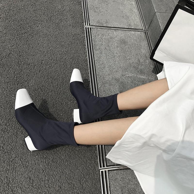 Эмма KING Горячая зима стрейч ткань носок сапоги Для женщин пикантные квадратный носок ботильоны Обувь на среднем каблуке Повседневные Платья Знакомства Мартин Для женщин сапоги