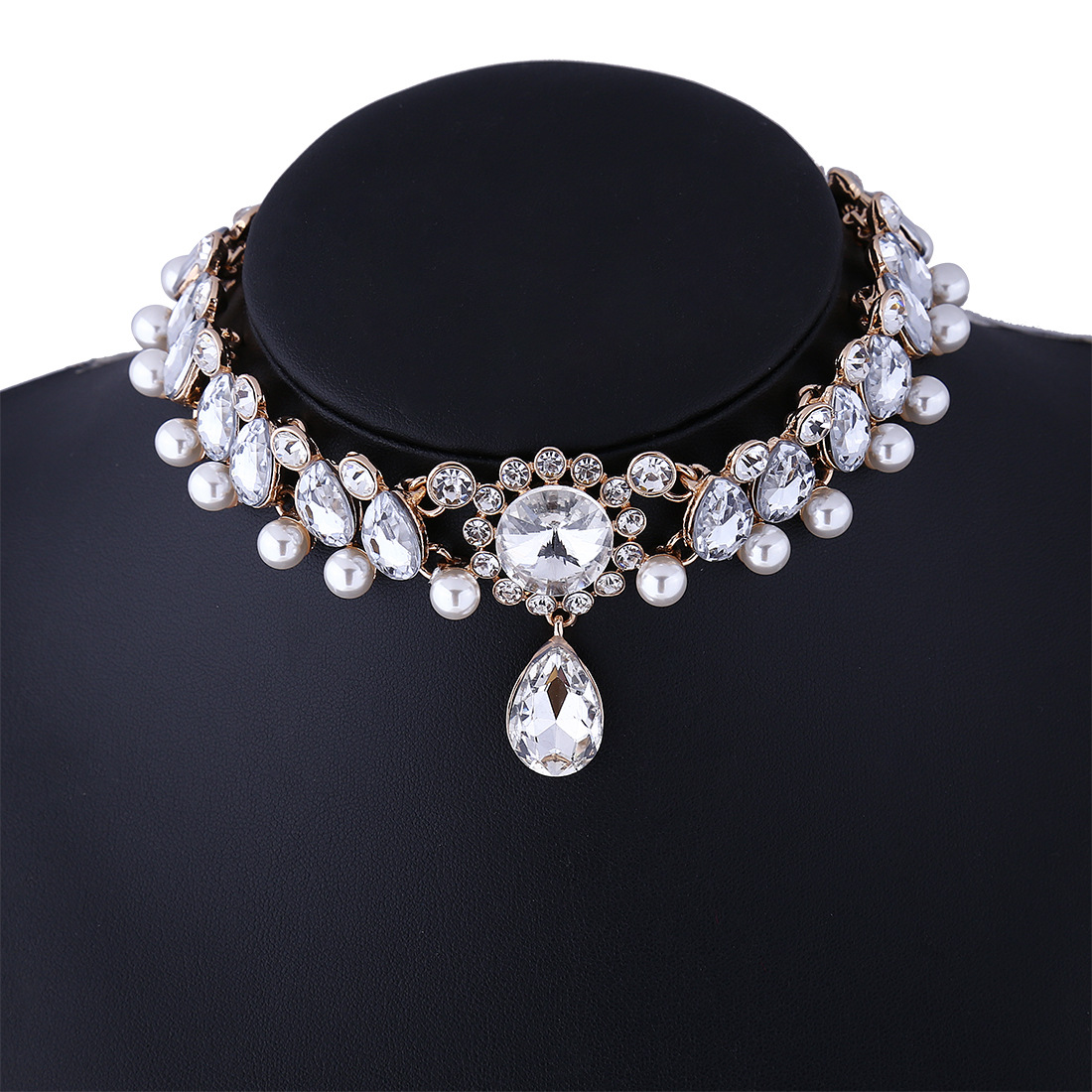 Jewdy Boho Collar Choker Water Drop Crystal Rhinestone pendant Necklace for women Vintage Simulated Pearl Statement Maxi Jewelry 14