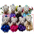 2017 Newest Teddy Bear in Dress Plush Toys Small Princess Bear Dolls DIY Wedding Party Flower Bouquet Decor 12cm 12pcs/lot