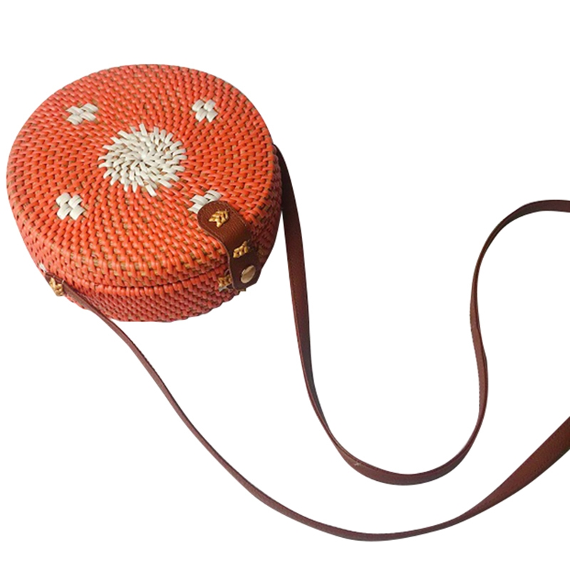 Women'S Cylinder Woven Bag Leather Button Opening Design Messenger Bag Vintage Rattan Grass Beach Multicolor Bag Weaving Ms. C