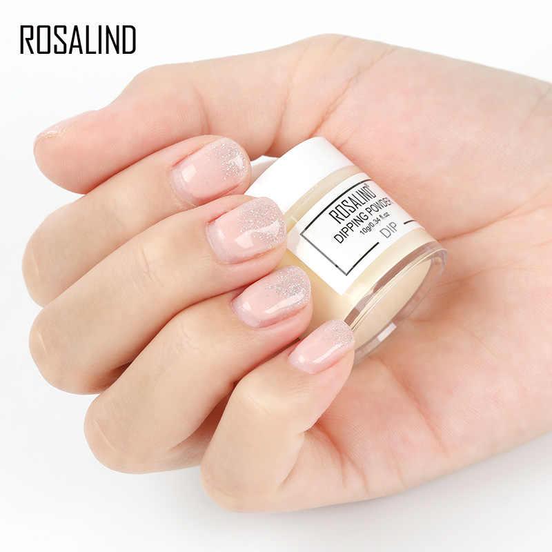 ROSALIND polvo de polvo holográfico de uñas polvo de inmersión sin lámpara curado 10g decoración de uñas secas naturales manicura brillo