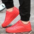Поступила новая Мода Мужская Обувь Повседневная Кожа PU Узелок квартира С Черный Красный Белый Резиновые Ботинки Тренеров Корзина Zapatillas