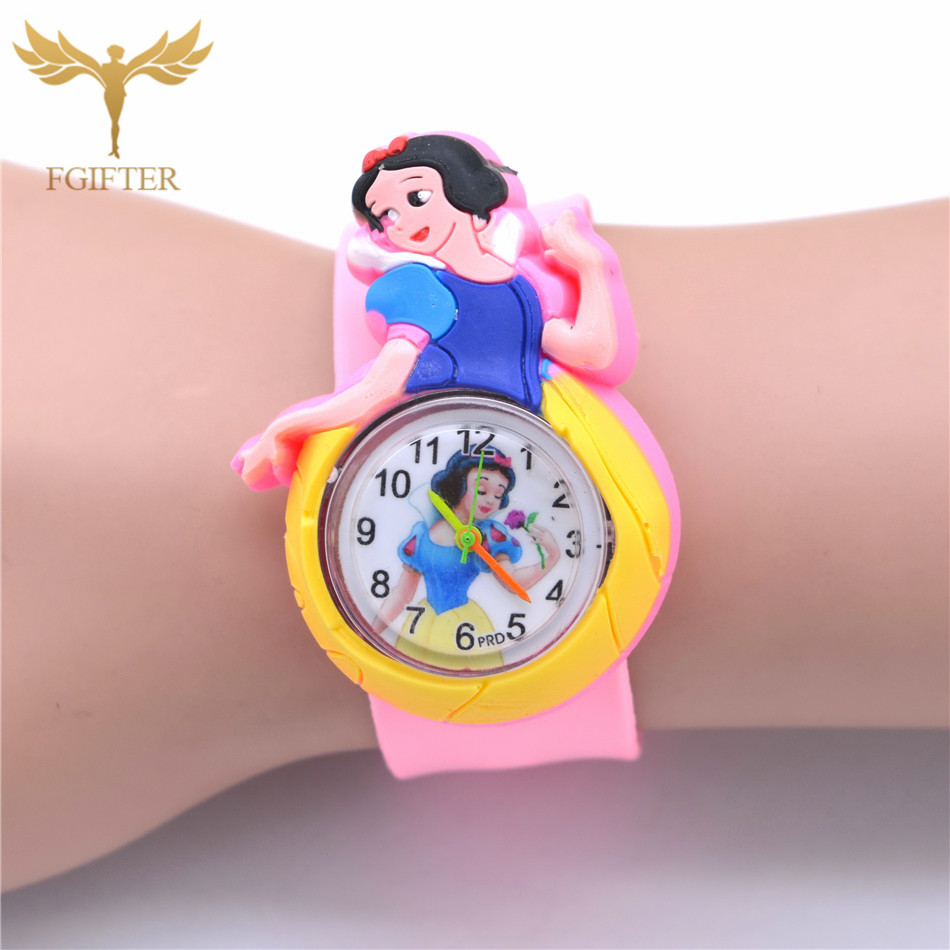 Classic Kids Little Girls Watch Pink Rubber Princess Watches Plastic Quartz Clock 2-6 Years Old Child's Gift