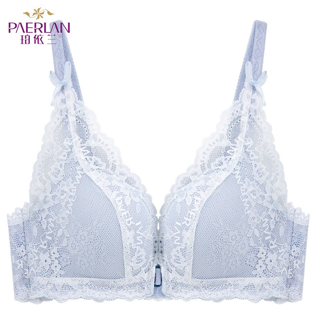 PAERLAN Sexy Push Up Thin Lace Bra Floral Bow Front Closure Seamless Wire Free  Small Breast White 1/2 Cup Women Underwear 6
