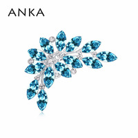 ANKA Feather Crystal Brooch Pin New Rhodium Plated Jewelry Gift For Women Main Stone Crystals from Austria #112806