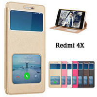 For Xiaomi Redmi 4X Case 5 0 Inch Luxury Answer View Window PU Leather Flip Cover