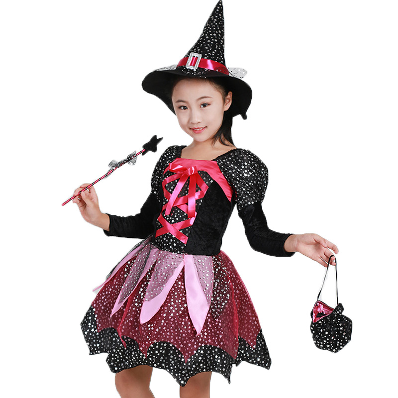 Witch Dress Halloween Costumes For Girl With Magic Wand Hat Cap Party Cosplay Dress Clothing Kids Girl Cartoon Performance Dress my 1st halloween witch hat white top halloween stripe skirt girl outfit set 1 8y mapsa0897