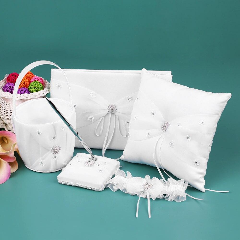 5pcsset White Wedding Supplies Satin Flower Girl Basket Wedding Ring Bearer Cushion Ring Pillow Wedding Guest Book Pen Holder
