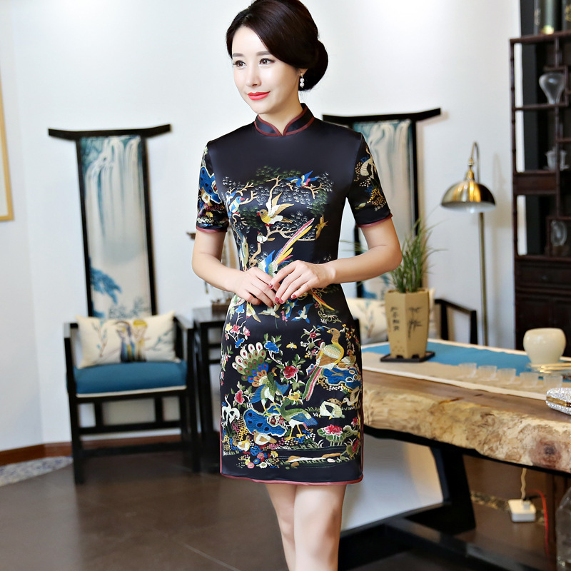 Printing Black Cheongsam Sexy Qipao Short Oriental Style Dresses Traditional Chinese Gown Evening Dress Robe Orientale Collars