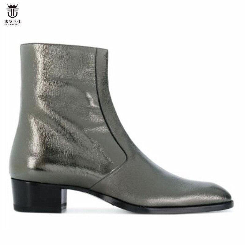 2018 FR.LANCELOT Brand Leather Top Qulaity Side Zipper High Top Men Ankle Boots Low Heel Men Shoes Trainers Chelsea Boots