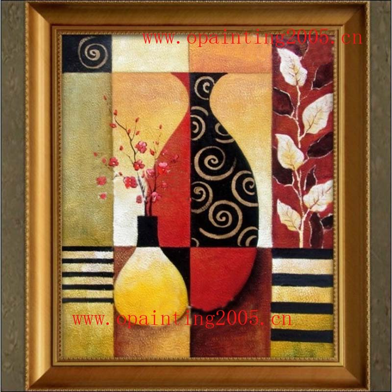 Factory Offer Hand Painted Fashion Still Life Bottle Flower Vase Oil Painting Home Decorative Wall Art