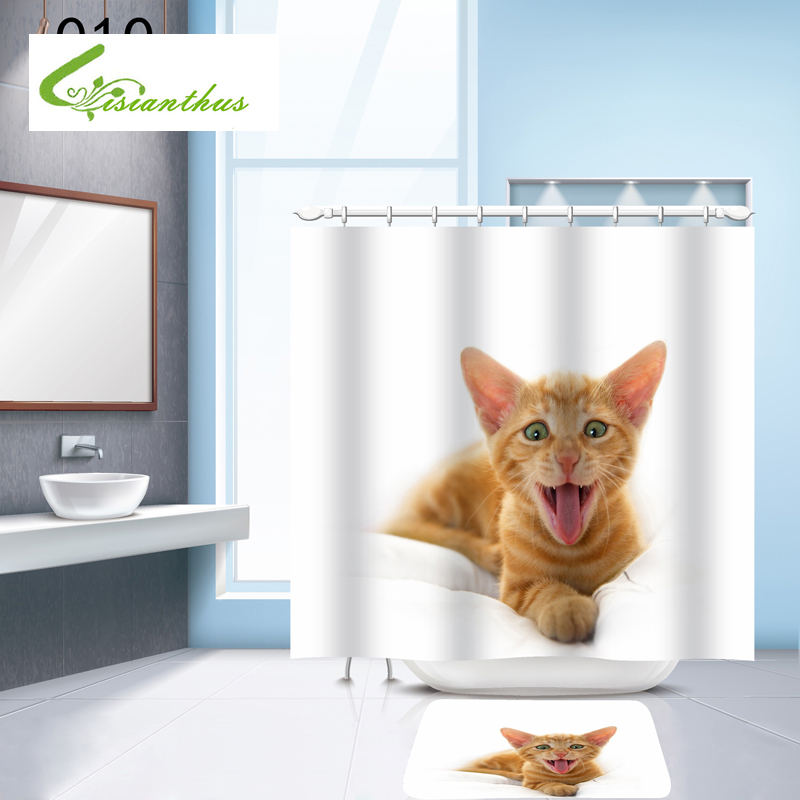 Shower Curtain Polyester Waterproof Moldproof Curtains Cartoon Cute Dog Bathroom Curtain Cat 180cm*180cm with 12 Hooks Home Deco