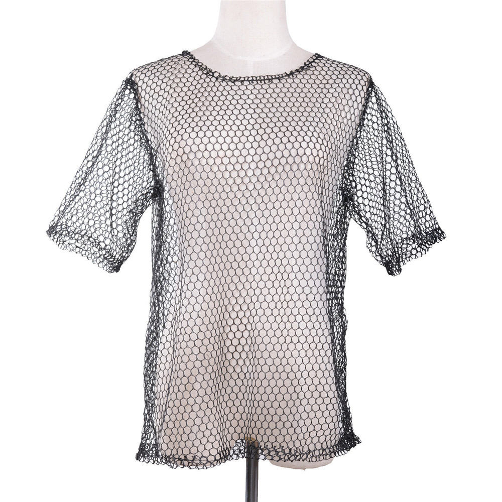 ADULT 1980S 80/'S MESH COSTUME FISHNET TOP NET SHIRT STRING VEST PUNK ROCK BLACK