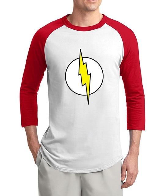 0b3f49b2 Superman Series The Flash men t shirt fashion Sheldon Cooper's 3/4 sleeve  tshirts men